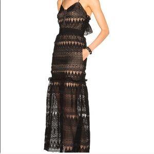 SELF-PORTRAIT teardrop guipure lace long dress